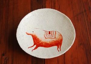 亥・赤絵粉引貫入皿 Iron Red Overglazed Slip Plate