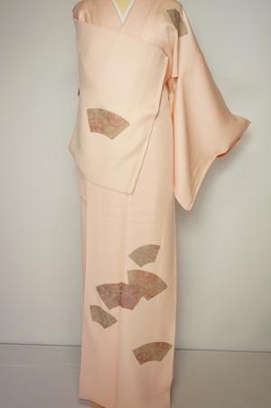 汕頭刺繍 扇 付下げ訪問着 正絹 乙女色 ピンク 363