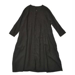 KAPITAL フレンチクロスリネン ピンタックオキーフドレス(ブラック)
