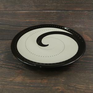 小石原焼 4寸小鉢 トビカンナ 白黒 鶴見窯
