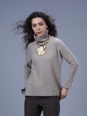 カシミヤリブ編み切替セーター