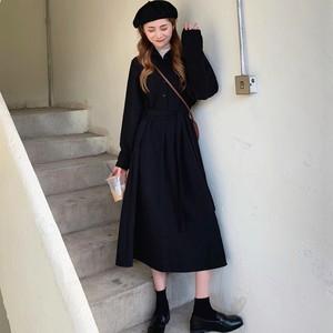 【ワンピース】ファッション韓国系長袖着痩せ合わせやすい厚手折り襟無地ドレスデートワンピース24365007
