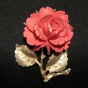赤い薔薇のブローチ ヴィンテージアクセサリーのセール通販 5726B