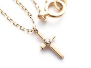 K18 ダイヤ付き チビクロス ネックレス