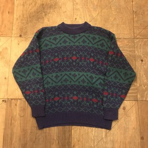 90s OLD GAP Cotton Knit sweater native textile UT 2891