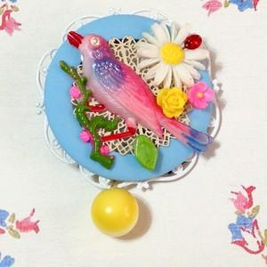 441 ピンクの鳥 ブローチ(帯飾り)