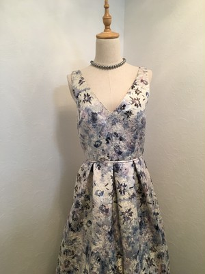 JS COLLECTION ジャカード織  フローラルプリント ロングドレス
