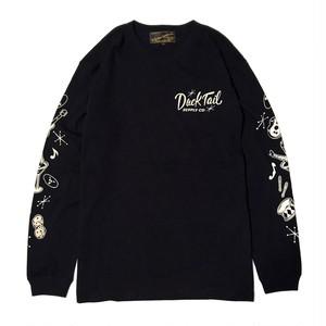 "XXL新入荷!!全サイズ再入荷!!DUCKTAIL CLOTHING LONG SLEEVE T SHIRTS ""RAZZLE DAZZLE"" BLACK ダックテイル クロージング 長袖 Tシャツ ロンT"