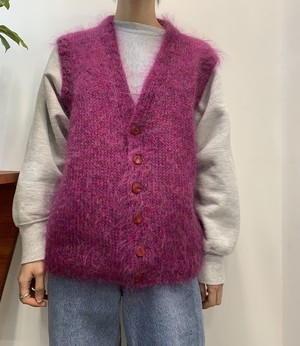 mix color mohair knit vest 【M位】