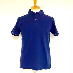 Seed Stitch  Shawl Collar Polo Shirt Navy