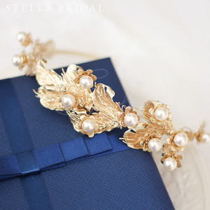 アンティークゴールドのボタニカルヘッドドレス メリッサ|ウェディングヘアアクセサリー
