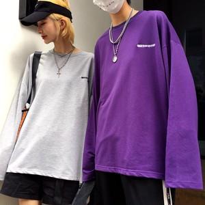 【トップス】韓国原宿原作ロングネックソリッドカラー長袖Tシャツ