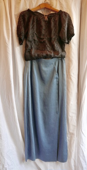 Hermes linen long skirt blue