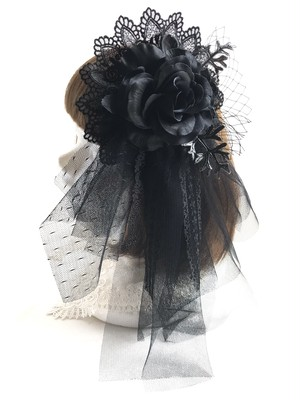ヘッドドレス&コサージュ(BK×BK)