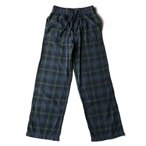 USED cotton check easy pants - green