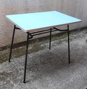 レトロな鉄脚の食堂テーブル【水色】(0221101C)