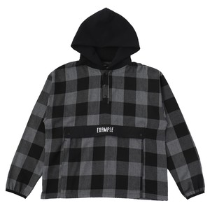 EXAMPLE HALF BUTTON BUFFALO CHECK PULLOVER L/S SHIRT / BLACK