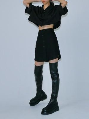 【WOMENS - 1 Size】CROP SHIRT SKIRT SETUP  / 2colors