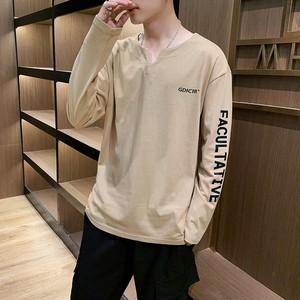 【トップス】シンプルファッションVネックアルファベット合わせやすい長袖メンズカットソー/シャツ24659932
