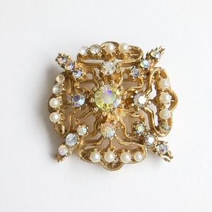 aurora rhinestone & pearl brooch[b-226]