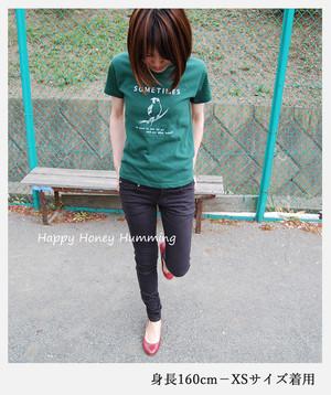 オリジナルTシャツ 鳥Tシャツ ダークグリーン スズメ 深緑