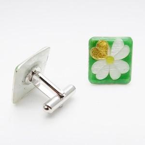 カフス 純銀銀彩 幸せの四葉クローバー/ green