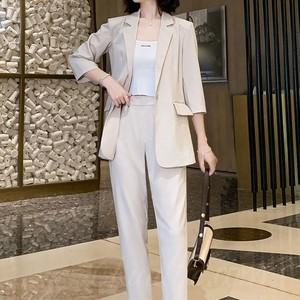 【セット】4色展開 通勤/OL 折り襟 七分袖 ボタン スーツ+ハイウエスト パンツ47308341