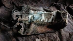 飾り布エコバッグ  藍茶×斑染め布