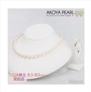 【66%OFF】宇和海真珠【鑑定書・おまけ付き】あこや真珠ネックレス(8.5×8.0mm)・ピアス(8.0mm)  2点セット