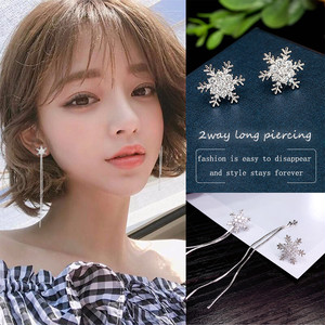 【小顔効果も期待】輝く雪の結晶ラインストーン&ネークチェーン2wayロングピアス