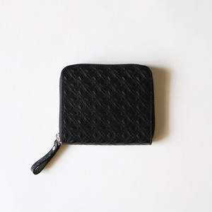 WM x PORTER MARQUETRY PATTERN EMBOSSED LEATHER WALLET- BLACK