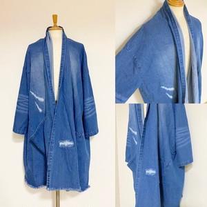 Damage & Repair Processing Denim Gown-ish Shirt Coat Indigo