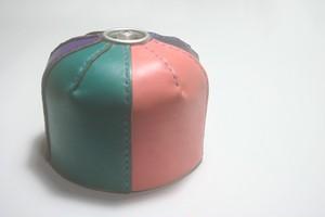 ♪オーダーメイド レザー OD缶カバー カラフルパッチワーク ガス缶 250 Mサイズ アウトドア キャンプギア♪
