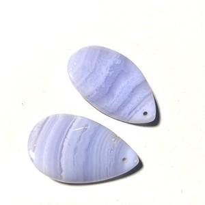 〔ペア〕ブルーレースアゲート  穴あり 空色瑪瑙 パステルカラー ハンドメイド 天然石ルース  14kgf