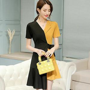 【ワンピース】ファッション折り襟切り替えリボン飾り配色デートワンピース18146408