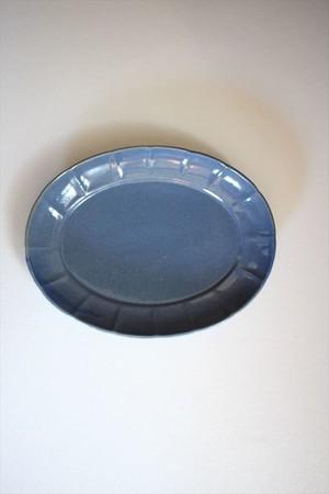 土井善男|紺青楕円輪花板皿