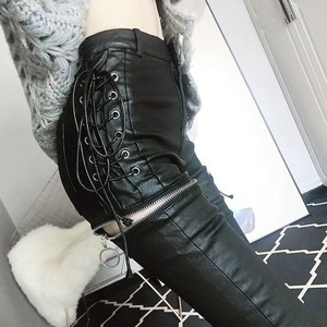 ring zipper leather pants