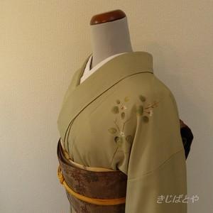 洗える着物 うぐいす色に白花の付け下げ 袷の着物