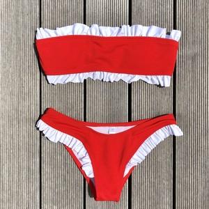 Bikini♡フリルトリムバンドゥビキニ レッド GSB18S081RED