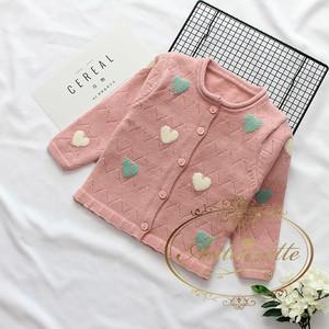 size 70 80 90 100 110 120 130 キッズ 赤ちゃん cardigan カーディガン 春 初夏 夏 羽織もの 長袖 ハート ハート型 ピンク かわいい おんなのこ ガーリー プリンセス かわいめ