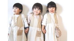 【入園入学】子供でも簡単に着られる❤︎ナチュラル系ドレスエプロン(ベージュストライプ)