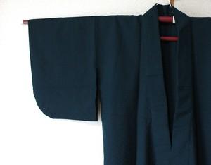 ネイビー水玉織り柄 身丈121.5cm 裄60cm