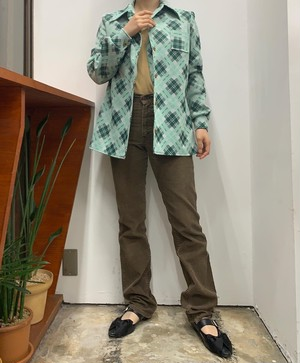 mint green check pattern shirt jacket【M位】