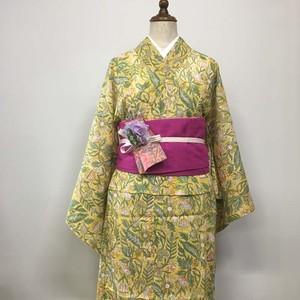 インド綿の二部式浴衣 おはしょり付き イエロー x ワイルドフラワー