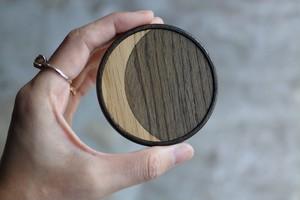 アトリエナルセ atelier naruse 水たまりに月が映る 木製ハンドミラー(布袋付き)