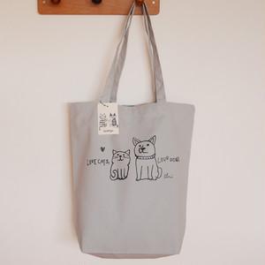 トートバッグ[Love cats, Love dogs.1]M シルバーグレー