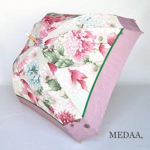 着物地の日傘 四角 付下げ 豪華花柄 ピンク系