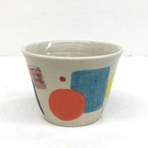 パッチワーク フリーカップ 小 手づくり手描き Pottery Cup, small size,handmade,hand-painted