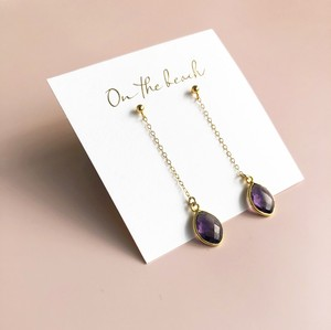 Amethyst chain pierced earrings / OTB-70
