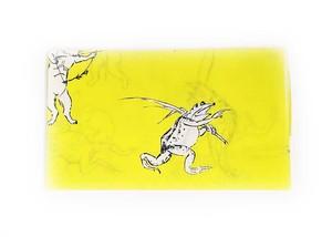 手拭い 鳥獣人物戯画 黄色